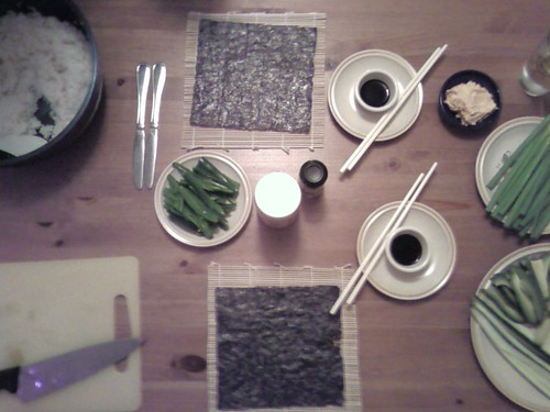 our beautiful homemade sushi set up