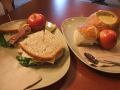 Sandwich and bread bowl soup