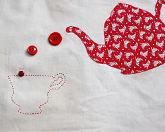 quilt project tea (craftapalooza) Tags: red tea embroidery button teapot teacup applique reproduction embroider thequiltproject