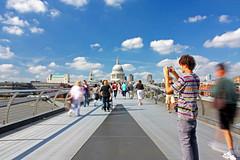 Millennium Bridge, London (Tony Pagnani Photography) Tags: city bridge people motion london clouds movement capital stpauls bluesky tourist daily commute slowshutter