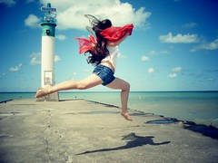 (Rowena R) Tags: lighthouse colour beach jump movement r themed leap rowena airplanejump
