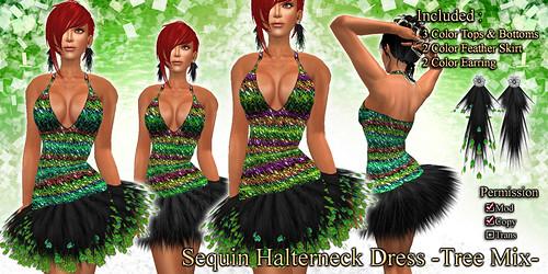 Sequin Halterneck Dress (Tree)