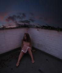 25/365 Pink Dress/Blue Room (sosij) Tags: pink blue sunset sky selfportrait rooftop wall grain sunsetting twistandshout themeoftheweek deaconblue vintageslip totw silkslip 90spopculture notmonkeyedwiththecoloursthatwasit