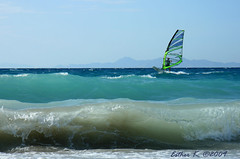 windsurfing (esther**) Tags: ocean blue sea sky waves wind wave greece windsurfing rhodes ixia interestingness47