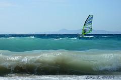windsurfing (esther**) Tags: ocean blue sea sky waves wind wave greece windsurfing rhodes ixia interestingness47