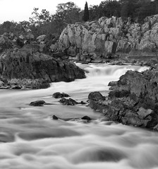Flow II (ep_jhu) Tags: trees bw naturaleza motion nature water rio canon river virginia agua rocks greatfalls rapids motionblur foam dcist potomac rocas ispy rushingwater cascadas bwmondays