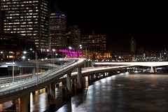 Brisbane (WilliamBullimore) Tags: longexposure bridge water night river au australia brisbane freeway queensland lighttrails roads brisbaneriver digitalcameraclub atomicaward
