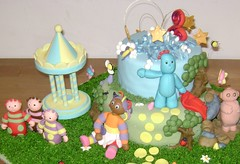 In the Night Garden (Little Wish Cakes) Tags: trees grass butterfly stars bees carousel bugs blanket ants daisy ladybug cave footpath fondant gumpaste caketoppers tombliboos igglepiggle nightgardencakeforkiyan