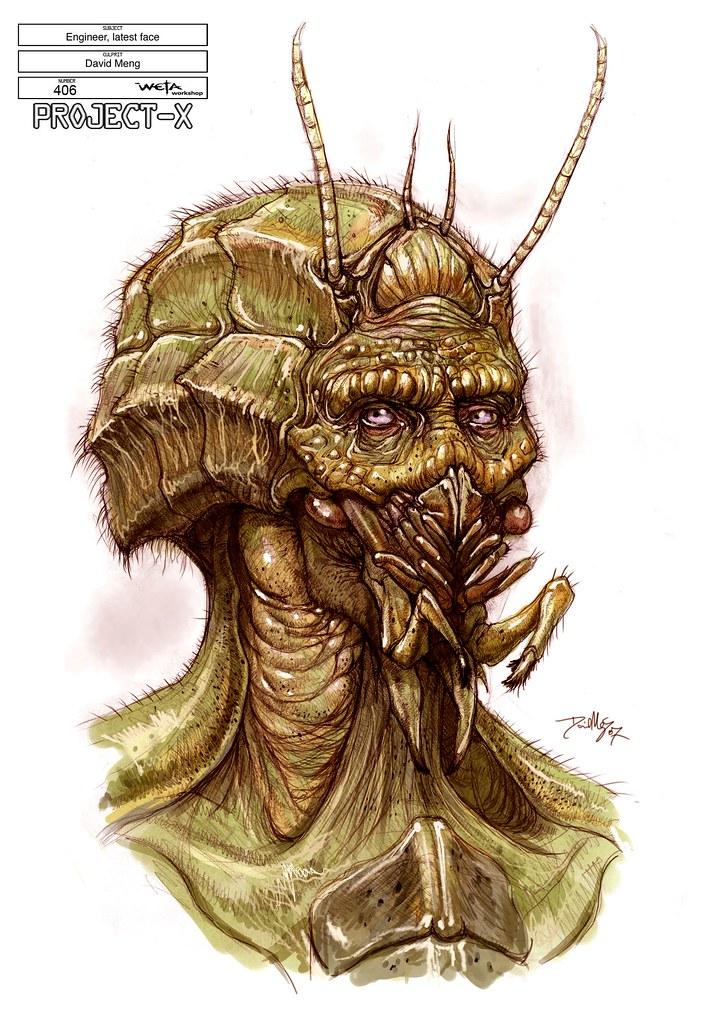 Boceto Sector 9 Alien cabeza