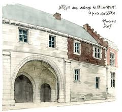 Liège, anc. abbaye de St-Laurent (gerard michel) Tags: architecture sketch belgium watercolour liège croquis