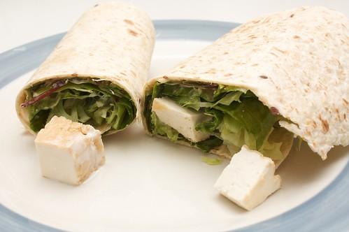tofu and salad wraps