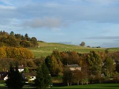 Glenfarg Houses. (B4bees .(2m views)) Tags: blue autumn trees sky reflections countryside photo community cattle views housing hillside sunslight glenfarg brianforbes perrthshire