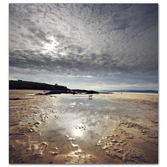Altocumulus reflections at Gwithian Sands. Have you heard the one about the dog who went for a walk and forgot to take his owner? (s0ulsurfing) Tags: ocean uk travel light sea vacation england sky panorama cloud dog sunlight holiday seascape reflection english tourism praia beach dogs water weather clouds composition canon reflections walking landscape coast mar sand october bravo scenery cornwall skies pov ripple joke wide perspective shoreline fluffy wideangle tourist reflected reflect coastal shore vista coastline ripples shallow bec missyou landschaft 2009 nube meteorology nephology altocumulus kernow punchline 10mm complimentarycolours westcornwall sigma1020 s0ulsurfing cloudlets stratiformis coastuk vertorama