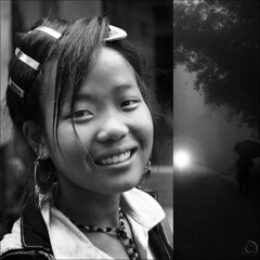 Black Hmong beauty in B&W (NaPix -- (Time out)) Tags: portrait woman black rain fog umbrella bokeh vietnam story sapa hmong existentialist tellmeastory hbw napix