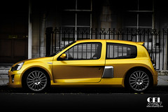 Renault Clio V6 (celsydney) Tags: auto uk 2 london cars car yellow bright cel clio automotive renault parked phase v6 worldcars celsydney celsydneycom