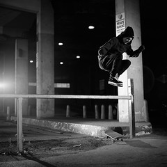 Corey Hippy Jump (RobSalmon) Tags: uk two bw white black west 120 robert film lens jump with shot skateboarding kodak tmax yorkshire united salmon hippy kingdom rob well east corey bronica flare medium format mf skater 100 hull sq shitty minutes skateboarder sqa 930 flashes strobist