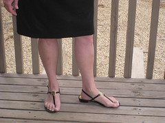 Thong Sandals (sandalluvr) Tags: anklestrap frenchpedicure thongsandals blackpatent