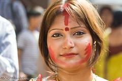 Aaj sudhu amader din (Abhijit Nayak-) Tags: red festival canon kolkata bengal calcutta vermilion durga westbengal dasami sindur canon400d bagbazar baghbazar sindurkhela puja2009