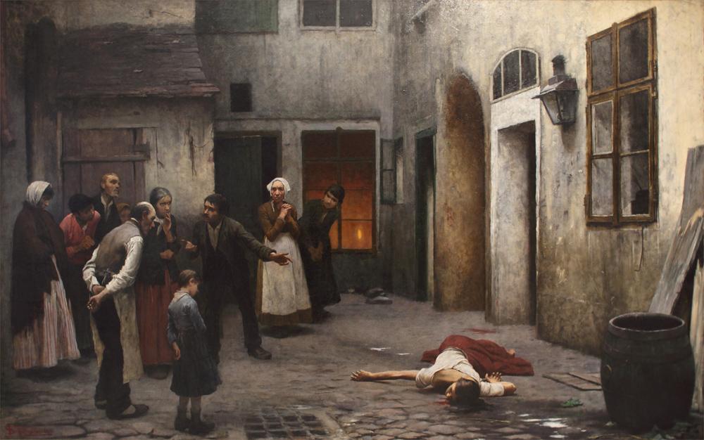 Jakub Schikaneder, Murder in the House, 1890