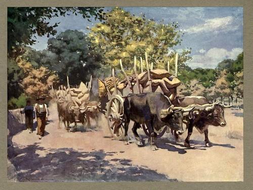 004-Carreta de bueyes en la carretera hacia Madrid-An artista in Spain 1914- Michael Arthur C.