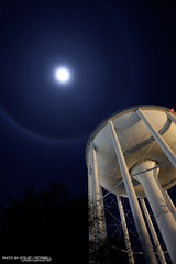 watertower and moon (CampbellSteven) Tags: blue moon night canon circle virginia suffolk halo steven campbell 1022mm 12209 40d wagenwerks