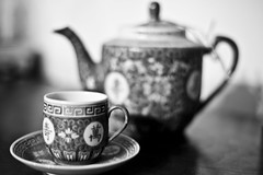 Service for One -- Dec. 14, 2009 (Jenn Long) Tags: bw white black cup asian dof tea bokeh teapot saucer monocrhome nikkor50mm118d nikond700 nofear365