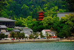 Miyajima Pagoda (Harle (Summer is here!)) Tags: trees sea orange green water japan forest japanese pagoda town tourist hiroshima miyajimaisland hdr hiroshimaken 広島 宮島 builddings simonpalmer orangepagoda