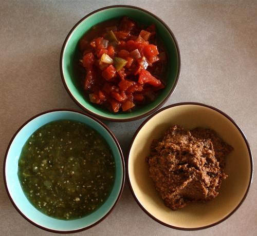 Tamale Sauces -  ranchera salsa, salsa verde, and mole