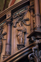 Bremen, Dom St. Petri, pulpit, stairs, detail (groenling) Tags: wood saint statue angel stairs john buch de book cathedral dom carving treppe staircase bremen engel johannes bild holz pulpit hansa hb woodcarving hanse hansestadt kanzel evangelist heilige kriebel stpetri