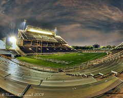 Amon Carter Stadium at Night (Shawn O'Connell Photography) Tags: longexposure color night nikon fisheye tcu hdr d90 hornedfrogs amoncarterstadium