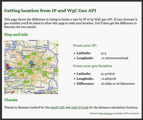 Finding the current location by IP and with the W3C Geo API ... on