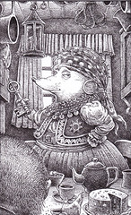 Auntie - An elderly Romany hedgehog has invited the hero for tea in her caravan. All the characters in this series are animals who appear in the guise of flamboyant fantasy characters.