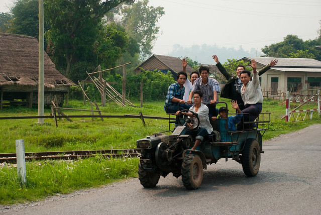 Travelers near Hsipaw, Myanmar