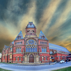 Memorial Hall: Harvard University, Cambridge, (Greater Boston) Massachusetts, USA (Tomasito.!) Tags: road wood blue roof cambridge red urban usa color building art cars love apple window glass car boston architecture america photoshop nikon university vibrant flag harvard gothic cement surreal hdr memorialhall tomasito d90 nikond90 vertorama mygearandme mygearandmepremium mygearandmebronze