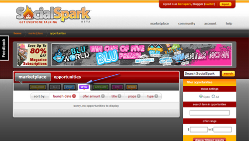 SocialSpark Blog Sponsorships