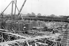 Construction of Michigan Central Station (mcsdetroitfriend) Tags: old blackandwhite bw michigan detroit photographs archives depot waynestateuniversity 5x7 michigancentralstation glassnegatives