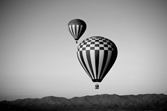 The Two Balloons - 8.9.09 (Explored) (-) Tags: arizona blackandwhite bw sunrise desert grandcanyon hotair balloon sedona 100v10f hotairballoon