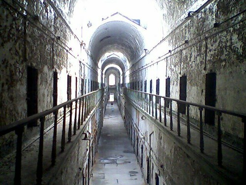 Inside cell block 7 at Eastern State Penitentiary in Philadelphia.Eerie!