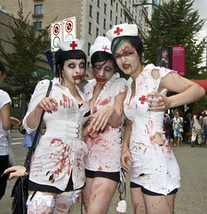 The three zombie nurses (Eyesplash - Summer was a blast, for 6 million view) Tags: bus sexy monster naughty blood breasts boobs zombie makeup tie freaky dirty piercing suit rings transit brains gore contacts motorcycle nosering zombies briefcase nurses guts vag vancouverartgallery zombienurse perverted prosthetics ghouls zombiewalkvancouver michaeljacques zombieblood halloweencostumeideas kariannehowarth hotzombienurses zombienursemakeup