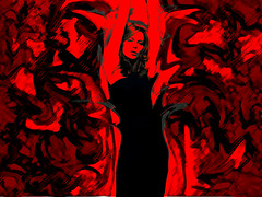 the element of fire... (jules_underdog) Tags: red black girl photoshop fire dance dress flames