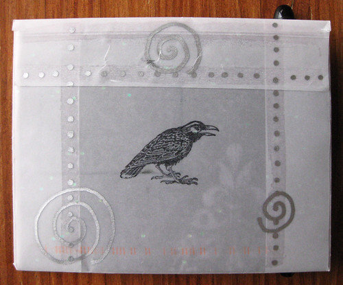 Silvery raven envelope, back