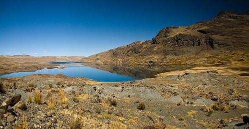 Lagune morte à cause de la contamination minière, La Rinconada, Puno, Pérou