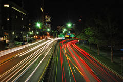 changing lanes.... ({seanpb}) Tags: longexposure cars boston night headlights storrowdrive explored nikkor1855mmf3556 nikond40