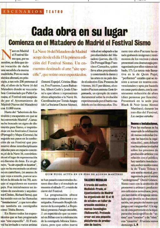 Reportaje sobre SISMO en El cultural de EL MUNDO