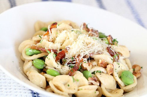 Orecchiette with fava beans, guanciale, and walnuts