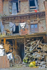 The clutter of a Bhaktapur lane (Byrd on a Wire) Tags: nepal lane clutter bhaktapur backlane dryingclothes