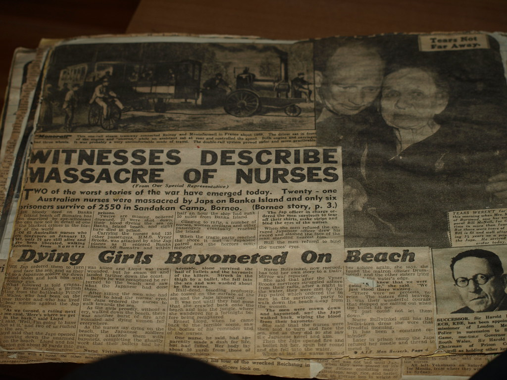Story of nurses, in a newspaper journal, one survives,with a bayonet wound in her abdomen hidden by her water bottle and becomes a POW. She would be killed by the Japanese if they know she is a witnes