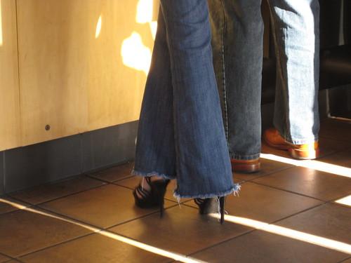morning feet at Starbucks