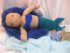 Large Teal/Blue Mermaid Doll Button Jointed (The Pine Cone Gnome) Tags: blue wool alaska hair long teal waldorf cotton mohair mermaid velour