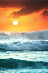 Ocean Sunrise (-yury-) Tags: ocean morning sea sky cloud sun seascape beach water sunrise canon landscape sydney wave australia mona vale 5d warriewood monvale